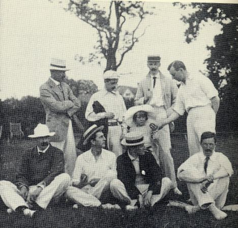 J. M. Barrie (standing, second left) and his 1905 team. The line-up over the years included Jerome K. Jerome, A. A. Milne, Arthur Conan Doyle and P. G. Wodehouse